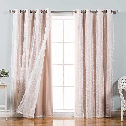 Best Home Fashion Mix & Match Dotted Tulle Lace & Solid Blackout Curtain Set - Antique Bronze Grommet Top - Dusty Pink - 52