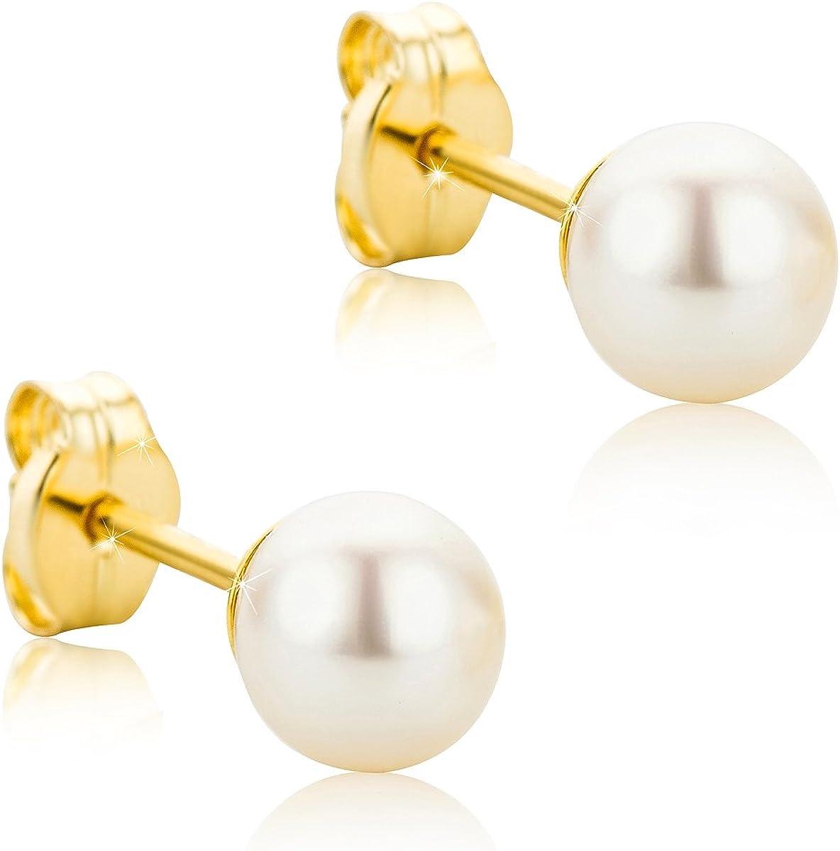 Orovi pendientes de mujer presión Perlas blancas 5-5.5 de aguadulce en oro amarillo 9 kilates ley 375