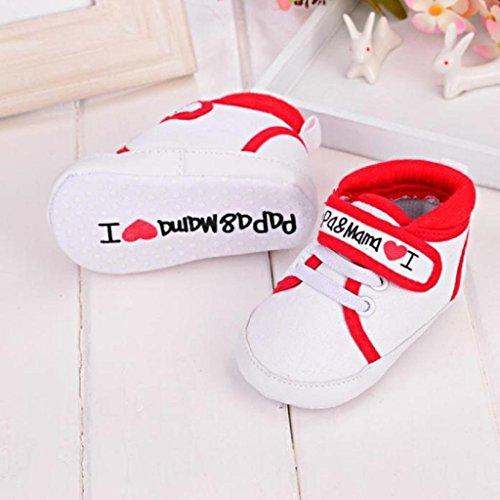 Koly Zapatos primeros pasos para bebé-niñas, pasos niñas, Lona (S, Blanco) Rojo