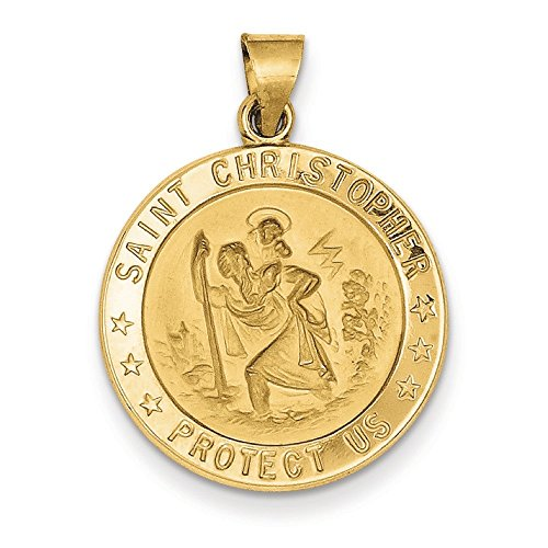 Or 14ct St. Christopher Médaille Pendentif Rond-Dimensions 21x 21mm