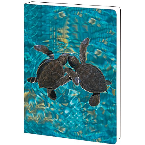 Tree-Free Greetings, Soft Cover Journal Notebook, 160 Lined Pages, 5.5 x 7.5 x 0.75 Inches, Baby Sea Turtles  (JR89932)