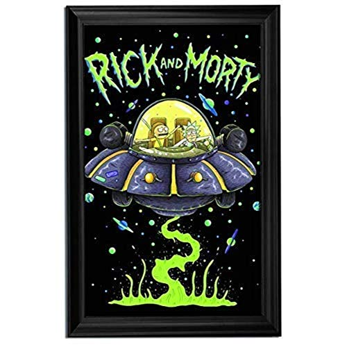 Rick and Morty Spaceship Wall Art Decor Framed Print | 24x36 Premium (Canvas/Painting Like) Textured Poster | TV Show, Party & Gaming Decorations & Artwork | Memorabilia Gifts for Guys ()
