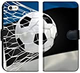 Luxlady iPhone 7 Flip Fabric Wallet Case Image ID: 34479473 Estonia Flag and Soccer Ball Football in Goal net