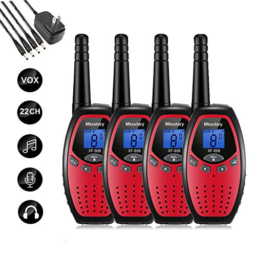 Walkie Talkies Rechargeable 4 Pack,Mksutary walkie talkies for Kids,2 Way Radios Kids Toys,Long Range 2 Miles,22 Channels Transceiver with DC Charger for Children Adults Biking Hiking RED
