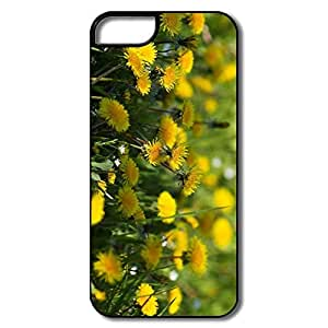 IPhone 5/5S Hard Plastic Cases, Yellow Dandelions White/black Covers For IPhone 5 5S