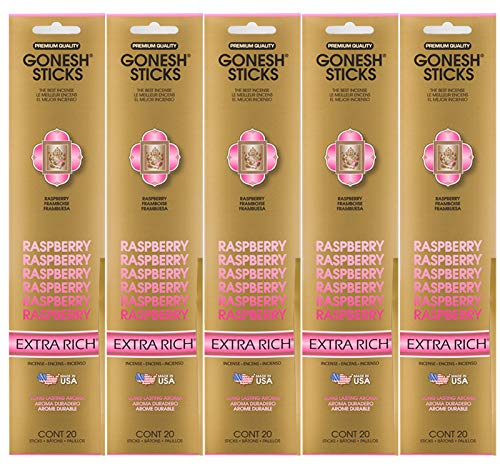 Gonesh Incense Sticks Extra Rich Collection - Raspberry 5 Packs (100 Total)