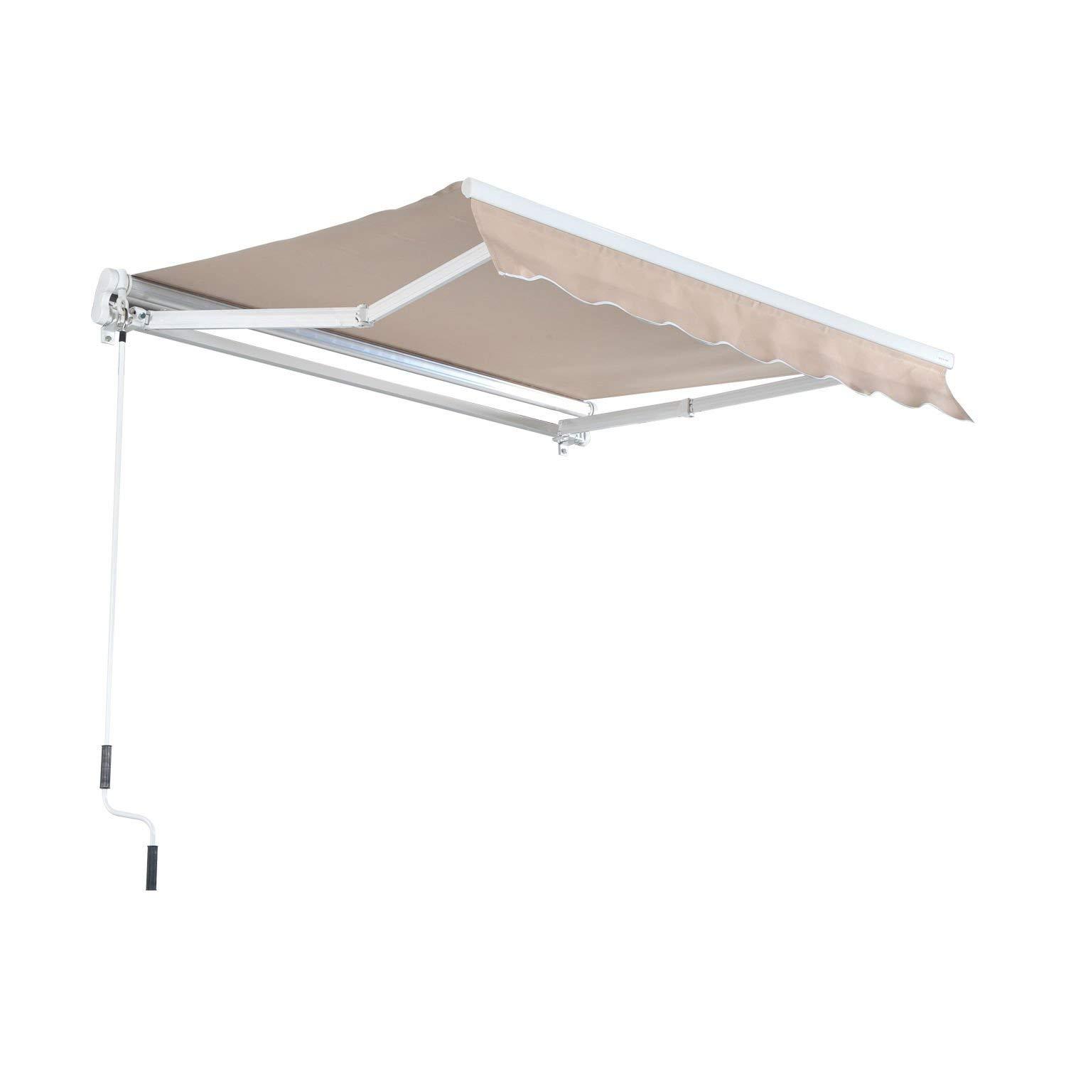 MCombo 13x8 10x8 12x10 FT Manual Retractable Patio Window Awning Commercial Grade - Quality 100% 280G Polyester Sunshade Shelter Outdoor Canopy Aluminum Frame (12x10 FT, Brown)