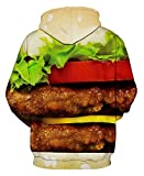 Unisex Hamburger Printed Graphic Stretch Long Sleeve Pullover Sweater Hoodies XL