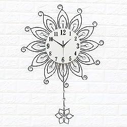 MQW European Retro Sun Flower Shape Quartz Wall Clock Living Room Bedroom Restaurant Modern Silent Non-Ticking with Pendulum Diamond Wall Clock 52x82cm Stylish Simplicity (Color : Silver)