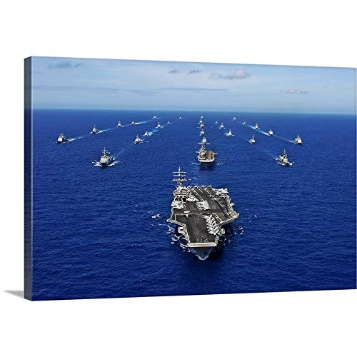 Gallery-Wrapped Canvas Entitled Aircraft Carrier USS Ronald Reagan transits The Pacific Ocean with a Fleet of Ships by Stocktrek Images 48