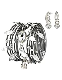 Wrap Leather Bracelet for Women Turns to Necklace, Dark Grey Leather with Swarovski Crystal Silver Plated Pendants and A Silver Earring Set Handmade by SEA-Smadar