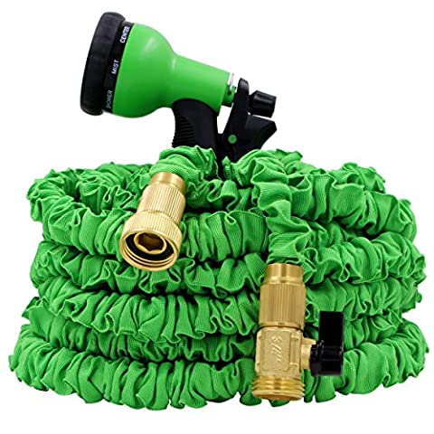 IBeaty 50FT/100FT/150FT Magical Flexible Expandable Double latex Garden Hose Pipe with 8 Setting Spray Nozzle Water Spray Gun (150FT, - Goa Light