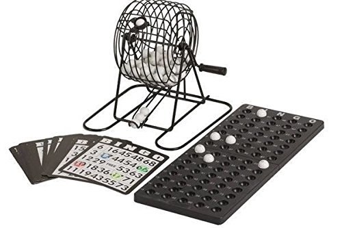 StealStreet SS-CQG-5205A 6'' Black Bingo Set with Metal Cage and Plastic Markers