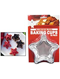 Access 24 Silver Foil Baking Cups Star Fun Shapes Mold Cupcakes Party Baking Bake Mini deal