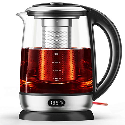 Aicook Tea Kettle, Electric Kettle Glass 1.7L, Precision Tea Maker 6 Temperature Presets with LED Display, Food Grade Stainless Steel, Auto Shut Off, 60min Keep Warm, BPA free