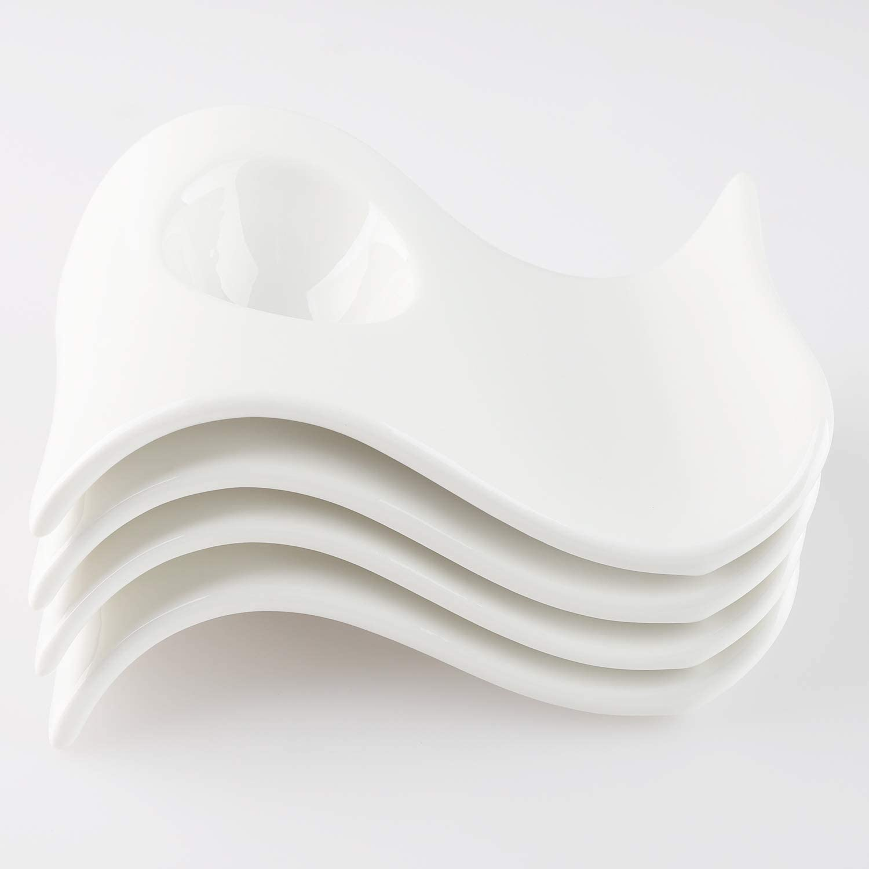 Egg Cup for Soft Boiled Eggs Ceramic Egg Holder Cups with Stainless Steel Egg Shell Cracker Topper 4Pcs Porcelain Egg Cups