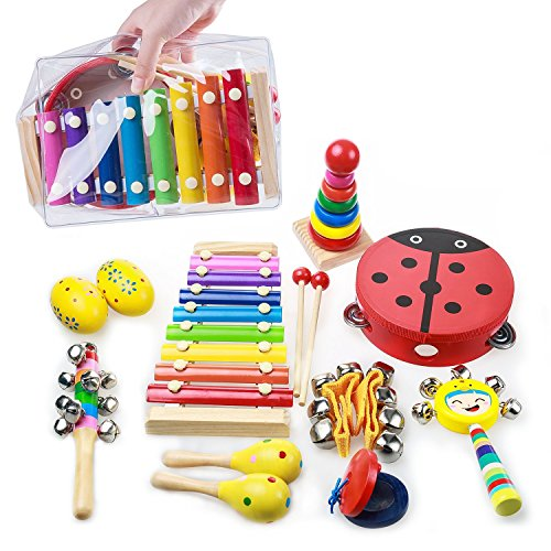 OAMCEG Toddler Musical Instruments, 9 Types 12Pcs Wooden Percussion Instruments Toy Set for Kids Preschool Educational with Free Carrying Bag