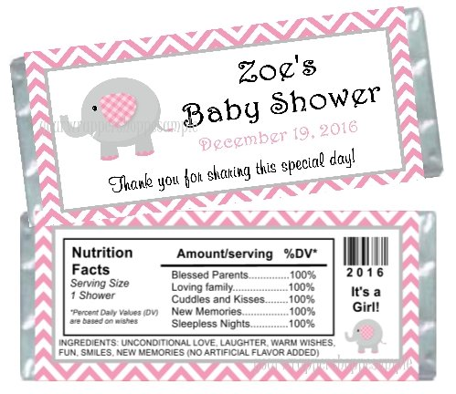 Personalized Pink and Grey Elephant Baby Shower Candy Bar Wrappers Party Favors It's a Girl!