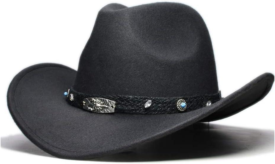 YEXIANG Neue Frauen M/änner Wolle Hollow Western Cowboyhut Roll-up breiter Krempe Cowgirl Jazz Equestrian Sombrero Cap Mit Fashion Band Farbe : Magenta, Gr/ö/ße : 56-58CM