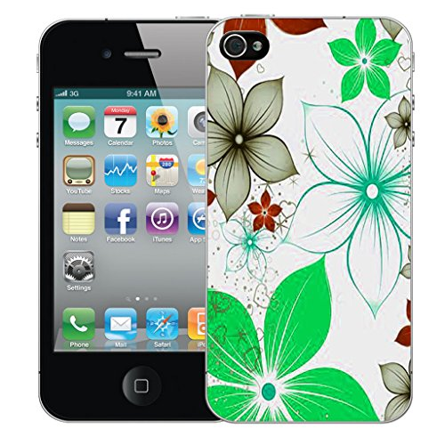 Mobile Case Mate iPhone 4s Silicone Coque couverture case cover Pare-chocs + STYLET - Green Poinsettia pattern (SILICON)
