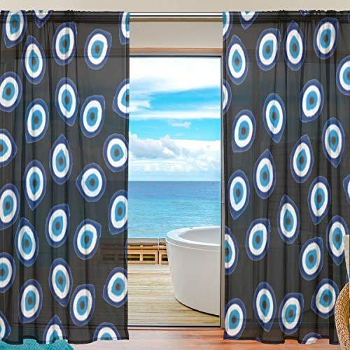 (Evil Eye Teardrops Sheer Curtains 78 Inch Length Window Treatment Set 2 Panels)