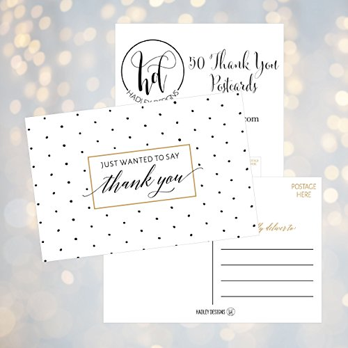 50 4x6 Blank Fill In Thank You Postcards Bulk, Cute Modern Chic Boho Thank You Note Card Stationery For Wedding Bridesmaid, Bridal / Baby Shower, Teachers, Appreciation, Religious, Business, Holidays Photo #4