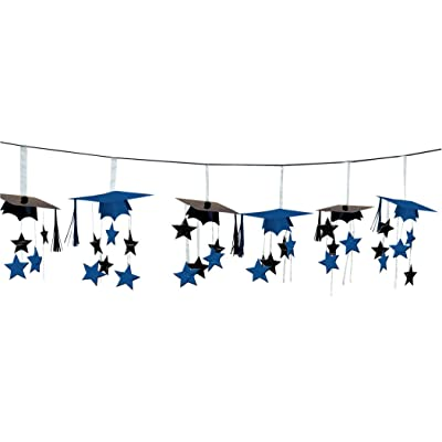 Blue/Black Graduation Caps 3D Garland: Toys & Games