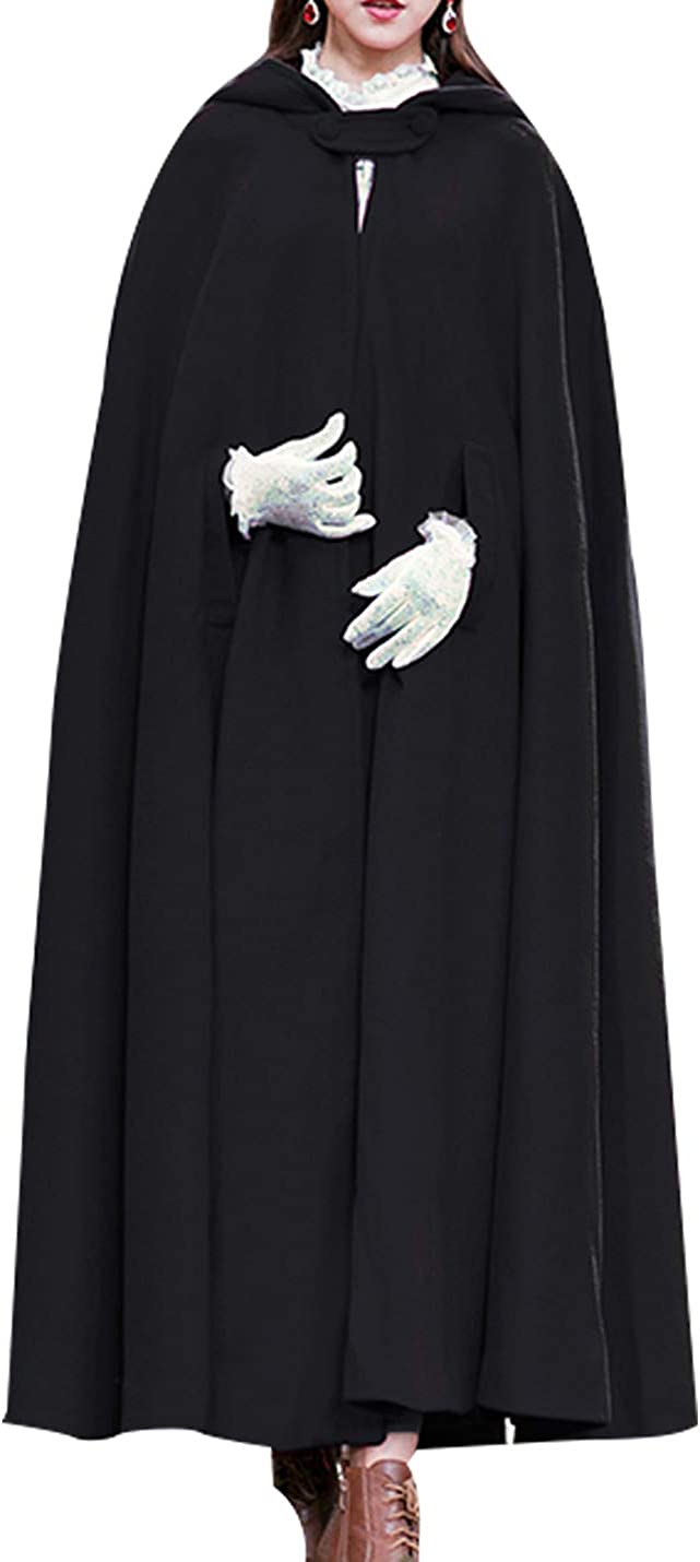 1920s Coats, Furs, Jackets and Capes History Tanming Womens Casual Solid Wool Blend Cape Outerwear Jacket Coat Cloak with Hood $68.99 AT vintagedancer.com