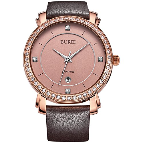 BUREI Women's Date Rose Gold Watch with Brown Genuine Leather Band