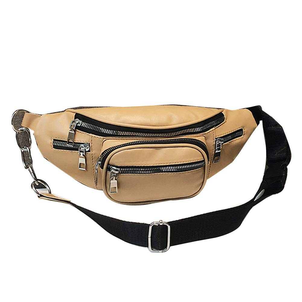 856store Womens Bags Lady Solid Color Multi-pockets Faux Leather Crossbody Chest Waist Bag Fanny Pack On Sale Clearance