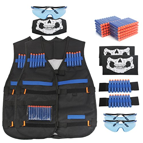 AMOSTING Kids Tactical Vest for Nerf N-Strike Elite Series Guns Toy with Refill Darts, Protective Glasses, Skull Mask, Wrist Band - 2 Sets