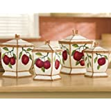 Tuscany Red Apple with Bamboo Trim Hand Painted, Canister Set of 4, 84301 by ACK