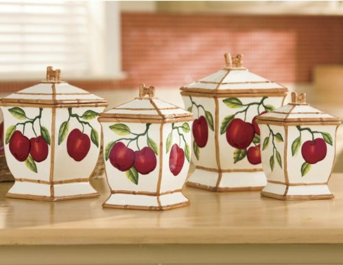 Tuscany Red Apple with Bamboo Trim Hand Painted, Canister Set of 4, 84301 by ACK Fruit Kitchen Canisters