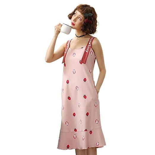 Camisón de algodón para mujer, 2019, sin mangas, con dobladillo ...