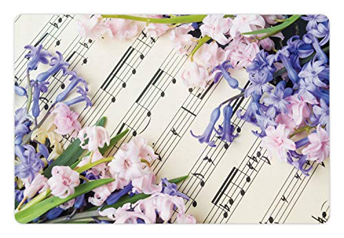 (Lunarable Sheet Music Pet Mat for Food and Water, Hyacinth Flowers Musical Notes Music Book Photo, Rectangle Non-Slip Rubber Mat for Dogs and Cats, Lavender Blue Pale Mauve and Off White)