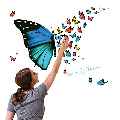 Colorful Butterfly Wall Sticker Removable Decals Art Living Room Decors (Chic Shabby Paint)
