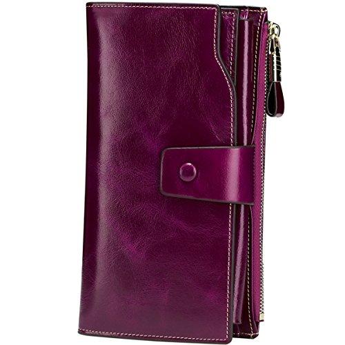 Itslife Women's RFID Blocking Genuine Leather Clutch
