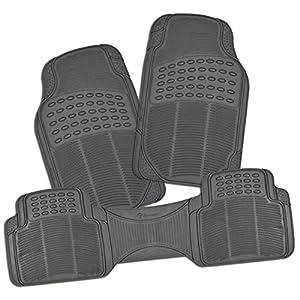 Zone Tech All Weather Rubber Semi Pattern Car Interior Floor Mats – 3-Piece Set Gray Heavy Duty Car Interior Floor Mats