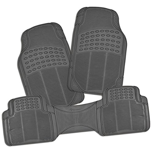 Zone Tech All Weather Rubber Semi Pattern Car Interior Floor Mats – 3-Piece Set Gray Heavy Duty Car Interior Floor Mats