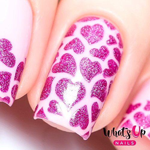 Whats Up Nails - Hearts Vinyl Stencils for Nail Art Design (1 Sheet, 12 Stencils)