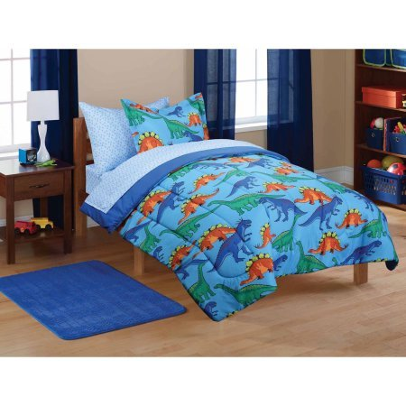 Mainstays Kids' Dinosaur Coordinated Bed in a Bag Includes Comforter, Pillow Sham(s), Flat Sheet, Fitted Sheet, Pillow case(s), FULL