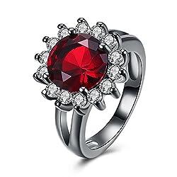 Gnzoe Jewelry Black Mental Plated Ring Women Cubic Zirconia Sun Flower Shape Red Size 7