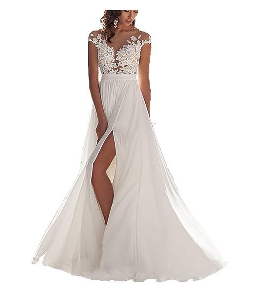 Amazon.com: Ieuan vestido de novia sexy de gasa para mujer ...