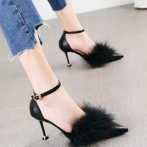 Hebilla Albaricoque Zapatos Aguja De Con Tacones Negro Baja Boca 36 Corte Joker La Moda Hrcxue Señaló Temperamento Elegante Rvxgwvd8