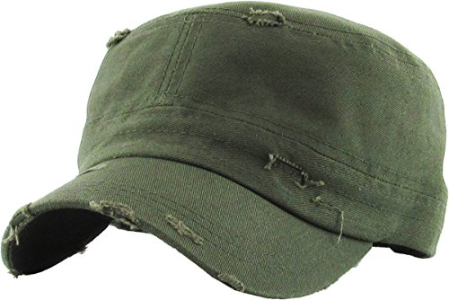 H-217-D33 Distressed Womens Mens Vintage Military Style Army Cadet Hat - Olive by Funky Junque