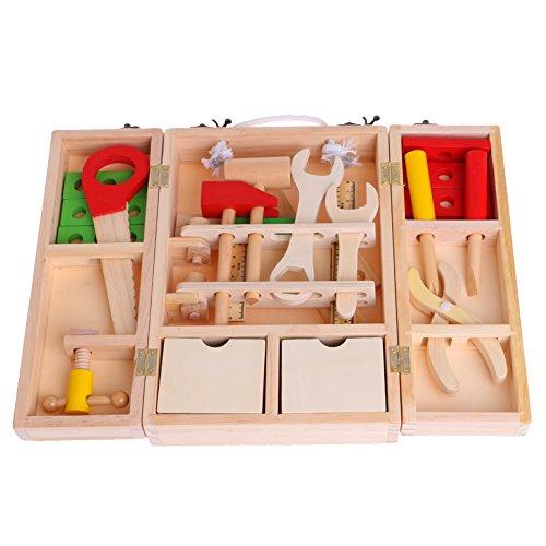 JAGENIE子供のシミュレーションハウス木製のサービスボックスツール修理キットおもちゃのおもちゃクリスマスお正月ギフト、1 pc、ランダム配送
