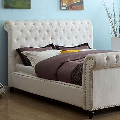 Bennett Transitioanl Style White Leatherette Finish Cal King Size Bed Frame Set