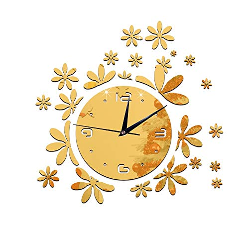 - DALIANGE Wall Clock Wall Clock Personalized Wall Decal Romantic Flower Decoration Mirror Clock Mirror Clock, Gold