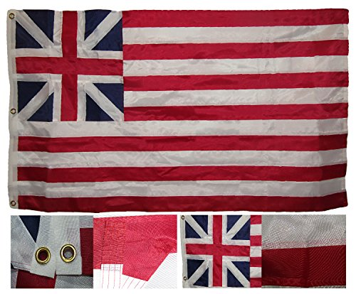 3x5 Embroidered Sewn UK Grand Union 300D Nylon Flag 3 clips Fade Resistant Double Stitched Premium Penant House Banner Grommets