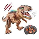Remote Control Dinosaur Electric Toy Kids RC Animal Toys LED Light Up Dinosaur Walking and Roaring Realistic T-Rex Robot Toys for Toddlers Boys Girls Brown